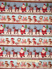 "Christmas Fabric - Bundle Up Santa Snowman Reindeer Stripe SPX Spectrix - 17"""
