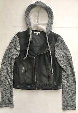 Women's Fire Distressed Denim Jacket Hoodie in Gray  - Size L