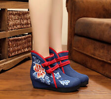Lady Chinese Embroidered Cloth Shoes Folk Floral Wedge Casual Ankle Buckle Boots