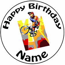 "Personalised Birthday BMX Biker Round 8"" Easy Precut Icing Cake Topper"