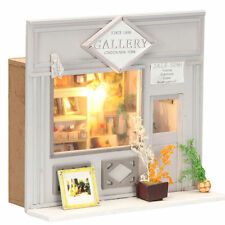 DIY Doll House Room Gallery Store Dollhouse Miniatures LED Furniture Kit Light
