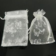 50 7x9cm White Butterfly Organza Jewelry Pouch Wedding Party Favor Gift Bags