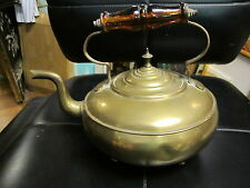 Antique LEOPOLD Brass Tea Pot/Toddy Kettle WITH AMBER GLASS HANDLE