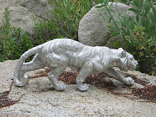 Crouching Tiger wildcat sculpture statue Striped texture Silver finish