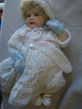 VTG All Porcelain Jointed Body Arms Legs Baby Doll Curly Blond Wig Hair 24168