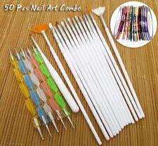 50 Pcs Nail Art Combo of 15 Nail Brushes,5 Dotting tools, 30 pcs stickers