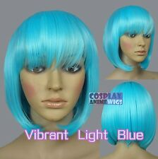 30cm Vibrant Light Blue Heat Styleable Chic Bob short Cosplay Wigs 91_VLB