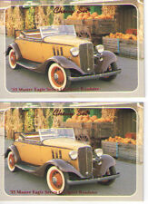 1933 Chevy Sport Roadster Baseball Card Sized Cards - lot of 2 - Must See !!