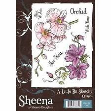 Sheena Douglass A Little Bit Sketchy ORCHIDS A6 Rubber Stamp Set