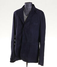 NWT $3495 ISAIA Navy Blue Lambskin Suede Leather Blazer 44 R (Eu 54) Jacket