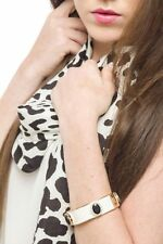 Bracelet Women Bangle Jewelry Leather Cuff With Gem & Diamonte Detail Wristband