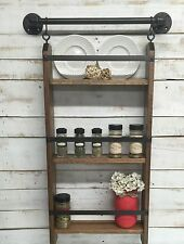 Rustic Ladder Shelf- Spice Rack Shelf- Industrial Kitchen Shelf-Ladder Shelf