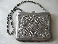 Antique Victorian Art Nouveau Silver P Floral Card Case Coin Purse For Repair