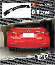 Unpainted Rear Matte Black Diffuser Dual for BMW F30 335i 3-Series M Tech Bumper