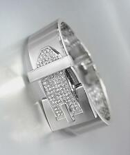 EXQUISITE Silver Metal Pave CZ Crystals BUCKLE Hinged Bangle Bracelet