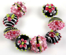 8 Lampwork Handmade Glass Beads Black Pink Lime Lentil Flower Jewelry Craft
