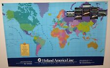 Original Holland America Line Travel POSTER Cruise The World Map
