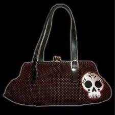 New Rockabilly Goth Sourpuss Black & Red Polka Dot Sugar Skull Handbag Purse