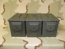 LOT OF 3 Fat 50 PA-108 SAW Larger Ammo Cans Boxes Army Surplus 100% Steel GRADE2