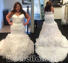 HOT Mermaid White/Ivory mermaid Wedding Dress Bridal Gown Plus size custom 16-30