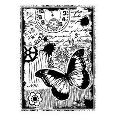 Crafty Individuals STEAMPUNK BUTTERFLY Unmounted Red Rubber Stamp