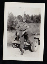 Old Antique Vintage Photograph Military Man In Uniform With Leg Up On Jeep