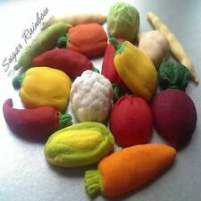 15 Edible sugar vegetables carrot pepper cauliflower corn  cake cupcake toppers
