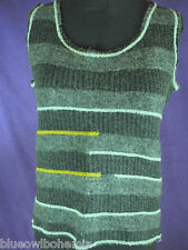 Italian Designer KALI OREA Grey Striped Wool Blend Sleeveless Tank Camisole Top