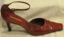 Enzo Angiolini Deep Red Leather Ankle Strap Square-toe Pumps, 8.5M - Worn Once!!