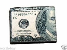 New Mens Bifold Genuine Leather Wallet Billfold 100 Dollar Bill Money Print Card