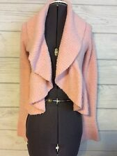 Moda International Womens Cardigan Sweater Pink Peach Boucle Chunky Cowl Spring