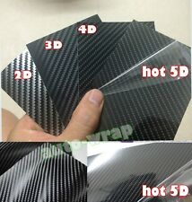 1 Set Samples - Car 2D 3D 4D 5D Carbon Fiber Vinyl Wrap Sticker Film Sheet Black