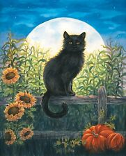 "Harvest Moon Cat Fall Garden Flag Black Cat Halloween Autumn 12.5"" x 18"""