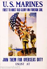 1915 U.S. Marines Flag WWI American Patriotic Wartime Advertisement Poster