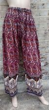 Vtg BOHO HIPPIE STYLE INDIAN BLOCK PRINT WIDE LEG BEACH FESTIVAL TROUSERS ONESIZ