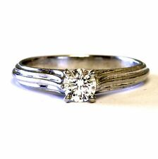Platinum GIA certified .45ct VVS2 D round solitaire diamond engagement ring 5g