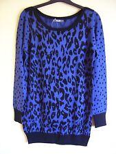 Ladies jumper size 12 blue & black print long jumper soft stretchy BNWT