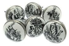 Set of 6 Exclusive Alice in Wonderland Ceramic Cupboard Knobs Set Antique Silver