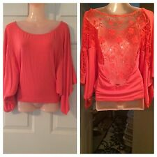 SKY Brand S Coral Lace Back Batwing Dolman Top-Small
