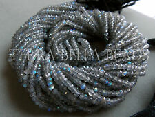 """13"""" AAA LABRADORITE faceted gem stone rondelle beads 3mm - 3.5mm blue green"""
