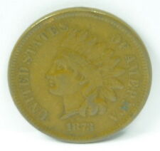 1873 US Mint Indian Head Penny .01c One Cent Fine+ Full Date + Liberty Coin
