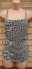 PAPAYA WHITE BLACK ABSTRACT STRAPPY SILKY BLOUSE TUNIC CAMI TOP VEST 8 S