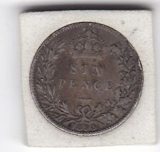 1890   Queen  Victoria  Sixpence  (6d)  Sterling  Silver  British  Coin