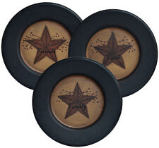 PRIMITIVE  HOME DECOR  Faith Family Friends Star Plates  Set of 3~ COUNTRY ~