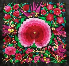 """Chinese tribal miao hmong square machinemade red embroidery Spring Coming 12"""""""