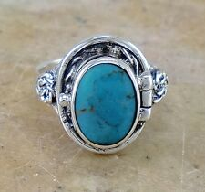 LARGE .925 STERLING SILVER TURQUOISE POISON RING size 9  style# r2213