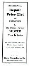 Stover Type K Gas Engine motor Manual book parts list hit miss wico ek magneto