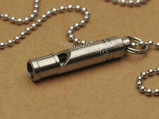 Tiremet Titanium Ti Whistle Necklace Pendant KeyChain Outdoor Survival Whistle