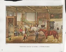 "1972 Vintage Currier & Ives ""A MODEL STABLE - TROTTING CRACKS"" COLOR Lithograph"