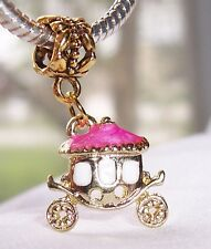 Princess Carriage Pink Gold Plated Dangle Bead for European Style Charm Bracelet